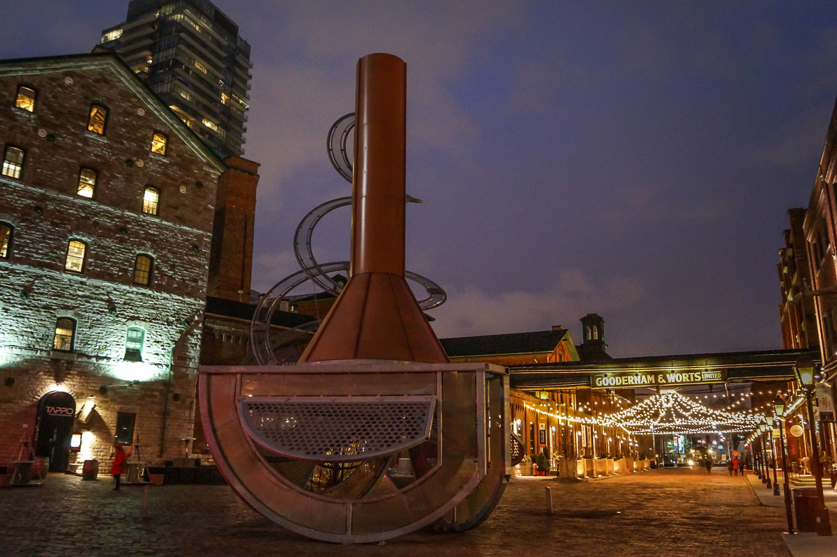 Drinking at Toronto's Distillery District