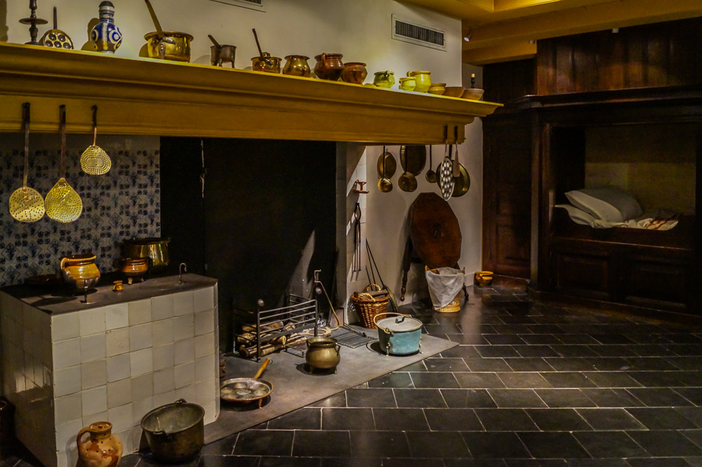 Kitchen in Rembrandt House Museum in Amsterdam