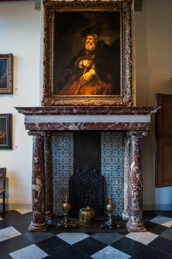 Fireplace in Rembrandt House Museum in Amsterdam