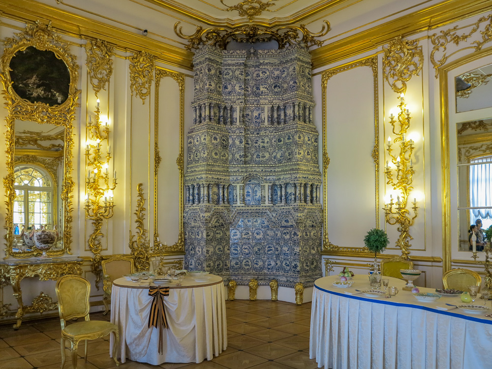 The Chevalier Dining Room in the Catherine Palace in Tsarskoye Selo