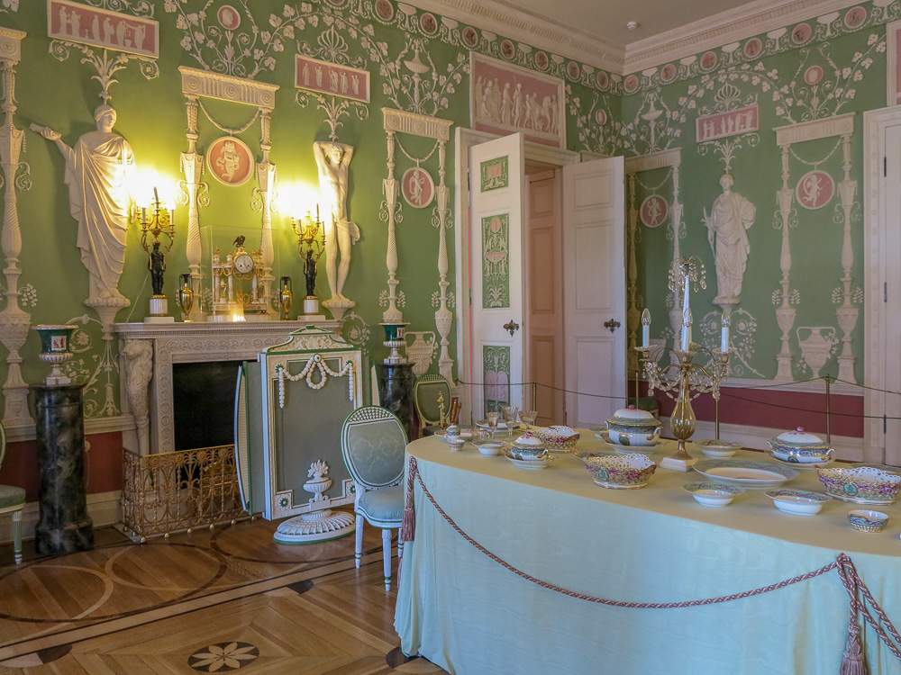 The Green Dining Room in the Catherine Palace in Tsarskoye Selo