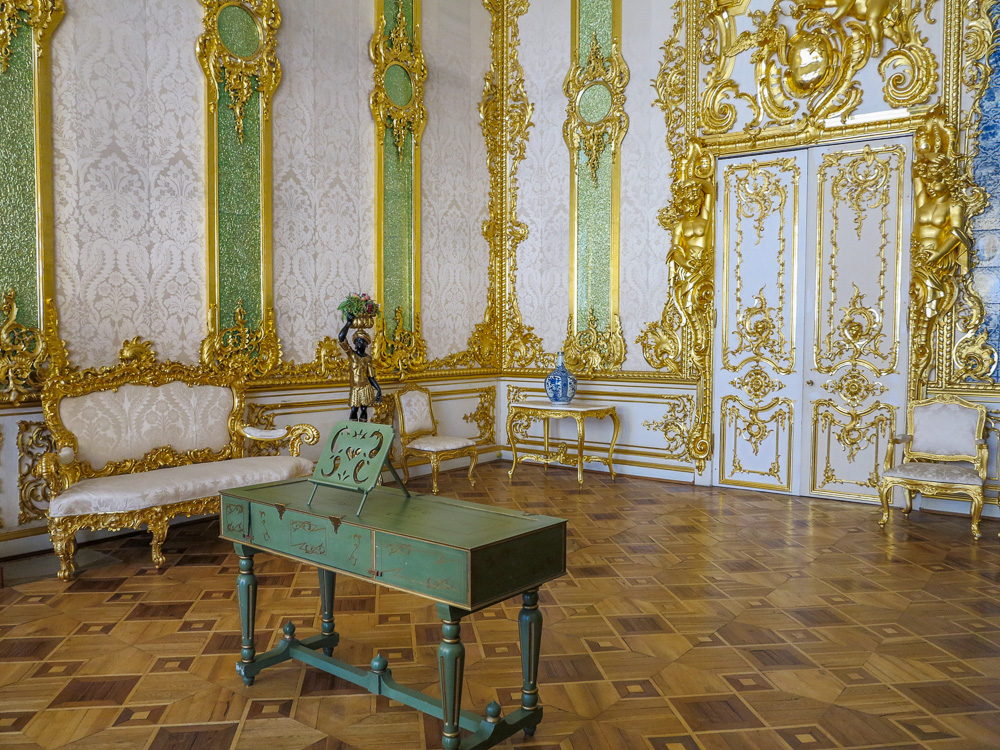 The Green Pilaster Room in the Catherine Palace in Tsarskoye Selo