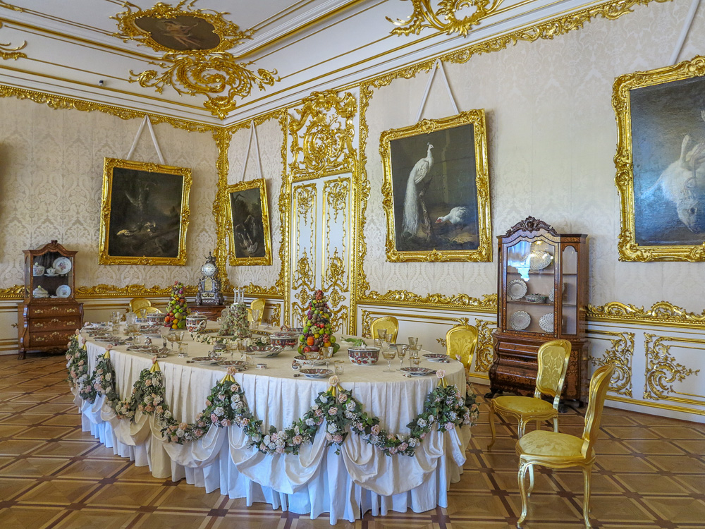 The White State Dining Room in the Catherine Palace in Tsarskoye Selo