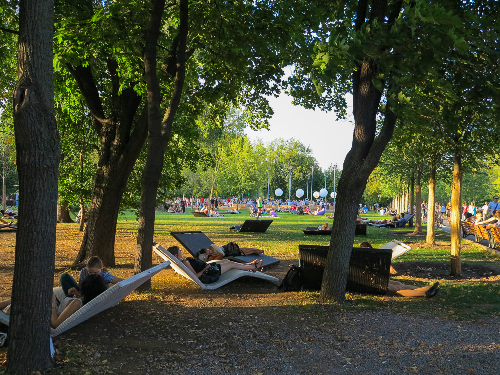 Lounge chairs at Gorky Park in Moscow
