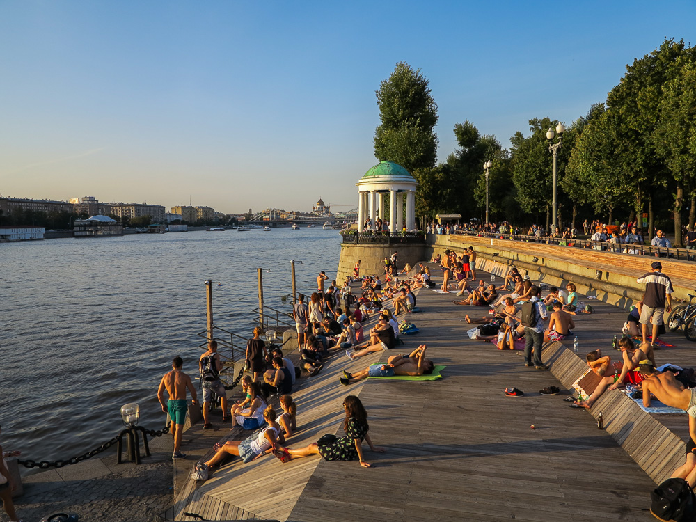People sunbathing at Gorky Park in Moscow