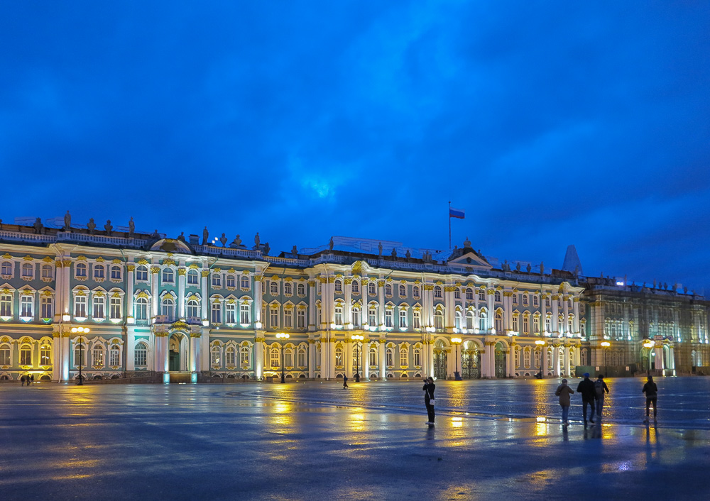 The State Hermitage Museum viewed from Dvortsovaya Square.