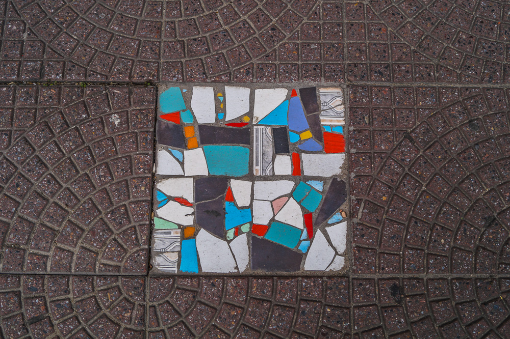 Colourful tiles in the street of Montevideo
