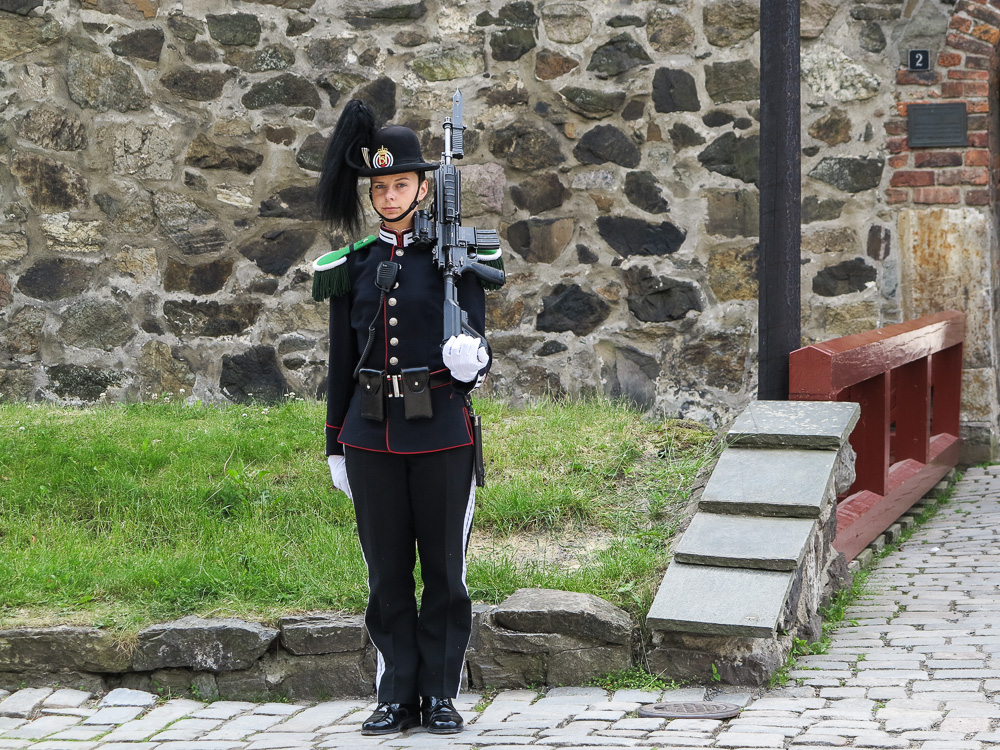 Guard at Akershus Castle in Oslo