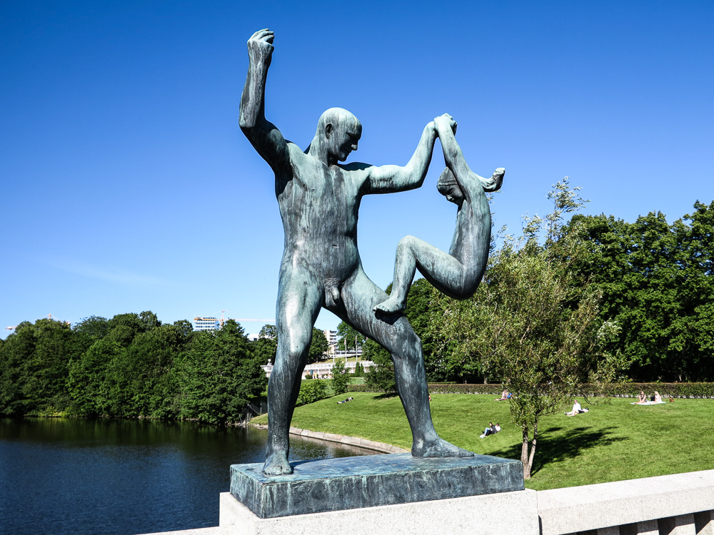 "The Sculpture ""Man lifting girl with one arm"" at Vigeland Sculpture Park"