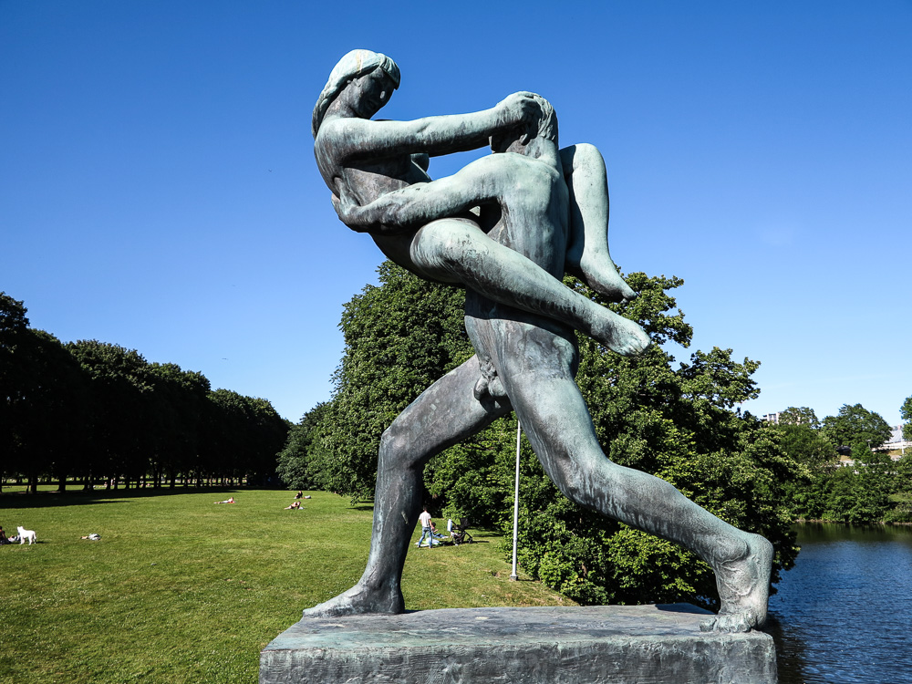 "The Sculpture ""Man lifting woman in front of himself"" at Vigeland Sculpture Park"
