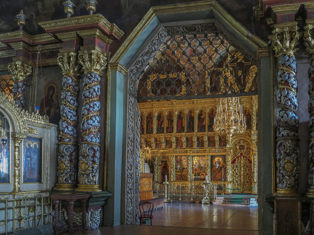 Interior of the Trinity Cathedral at the Trinity Monastery of St. Sergius in Sergiyev Posad