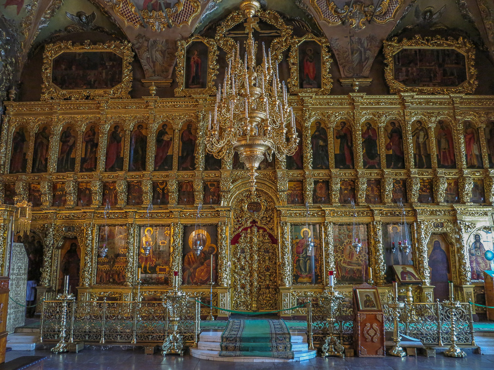 The iconostasis of the Trinity Cathedral at the Trinity Monastery of St. Sergius in Sergiyev Posad