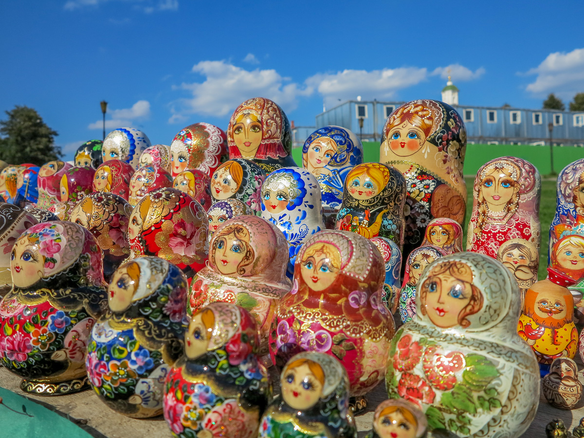 Russian dolls at the Trinity Monastery of St. Sergius in Sergiyev Posad