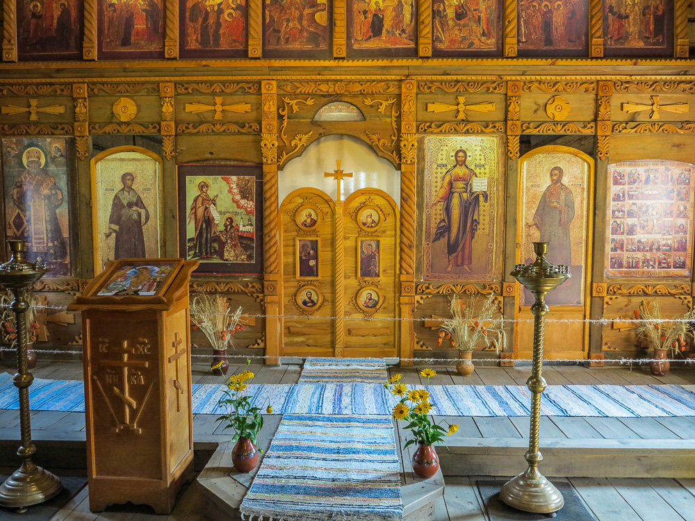 Inside a church at the Museum of Wooden Architecture and Peasant Life in Suzdal