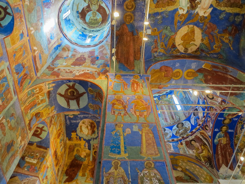 Frescoes inside the Transfiguration of the Saviour Cathedral at the Spaso-Evfimiyev Monastery Museum Complex in Suzdal