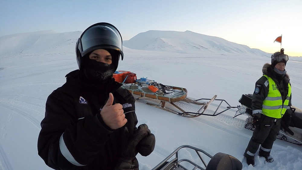 Snowmobile safari to Barentsburg at Svalbard