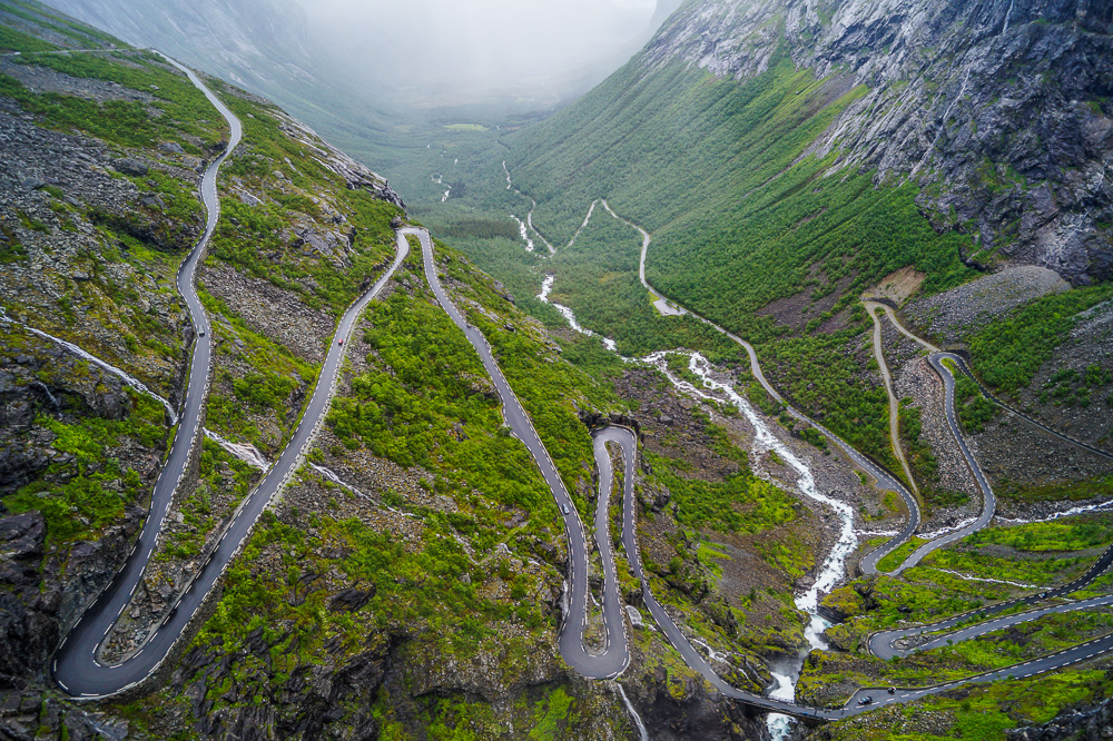 View from the top of the Trollstigen road