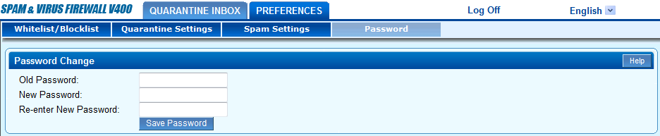 Screenshot showing how to change a password for Barracuda