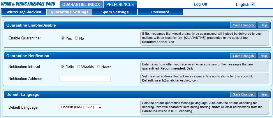 A screenshot showing quarantine settings for Barracuda