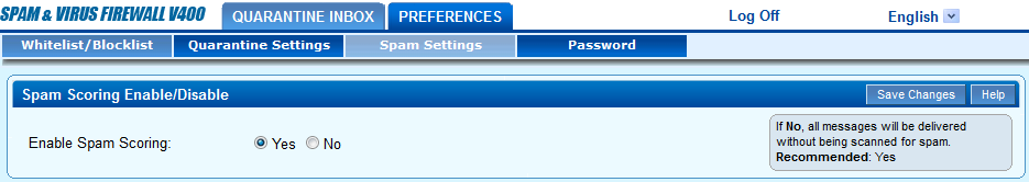 A screenshot showing spam settings for Barracuda