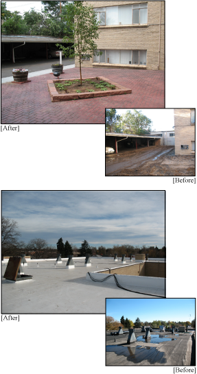 Apartment Building Renovations: Before and After Roof and Courtyard