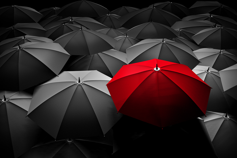 Red umbrella - stand out from the crowd - brand marketing