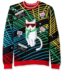 80's cool cat ugly Christmas sweater has tubular glasses and mix tapes