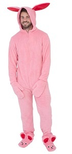For Men A Christmas Story Pink NIghtmare Bunny Pajamas with ears and bunny slippers
