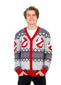Ghostbusters Ugly Christmas Sweater Cardigan Style