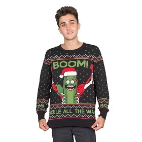Boom! I'm Pickle Rick. Rick and Morty Ugly Christmas Sweater. The big reveal