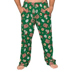 Happy Human Holiday LOung Pants. These are a great addition to any Rick and Morty Ugly Christmas Sweater. Wear them all month. Wear them over those hairy legs, please