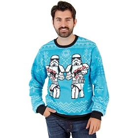 Stormtrooper ugly christmas sweater. Star Wars ugly Hanukkah sweater.