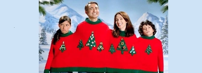 How-to Guide to Ugly Sweater Christmas Cards including budgeting planning, selecting sweaters, printing, mailing and sharing online
