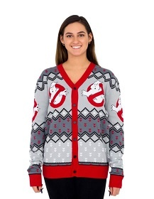 Ghostbuster Sweater for women. Cardigan ugly Christmas sweater