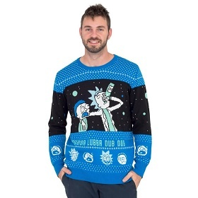 Wubba Lubba Dub Dub Rick Sanchex ugly Christmas sweater. Rick Drinking