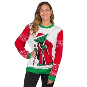 Cute Yoda Christmas Sweater. Yoda Women's Star Wars Sweater.