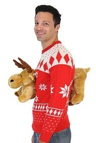Moose Stuffed Animal 3D Ugly Christmas Sweater