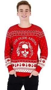 Big Lebowski Ugly Christmas Sweater. The Dude Abides with Jeffrey Lebowski on the front. Red Christmas sweater
