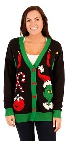 Black Cardigan with Grinch, Decorations and Candy Canes