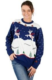 Women's Navy Step Brothers Ugly Christmas Sweater cute dancing reindeer