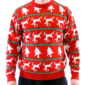 Trees and Dead Reindeers ugly christmas sweater with reindeer