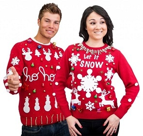 Light Up Ugly Christmas Sweater Kit comes with Sweater and LED ornaments that you attach