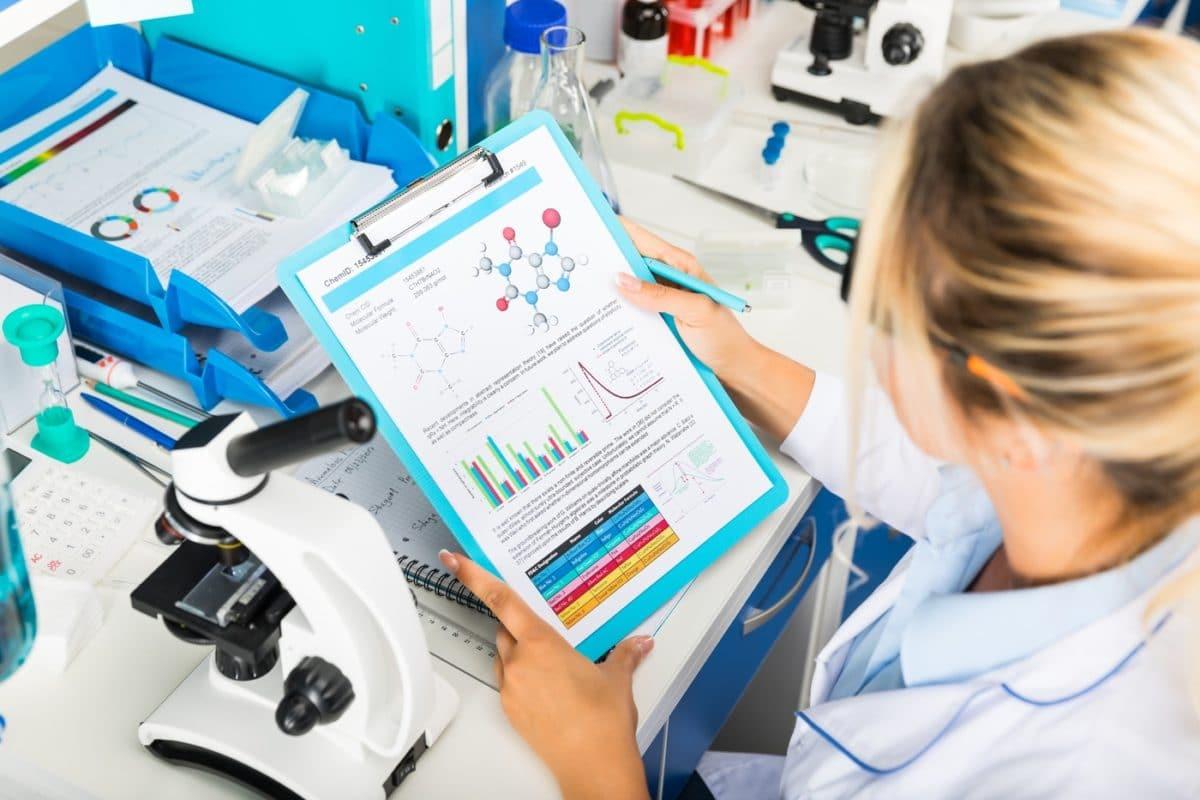 Laboratory working researching marijuana products