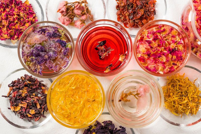 photo of different healthy herbal teas