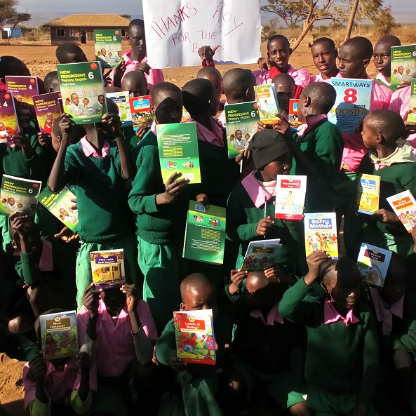 Students at Amboseli after receiving the first bunch of books from Libraries for Kids
