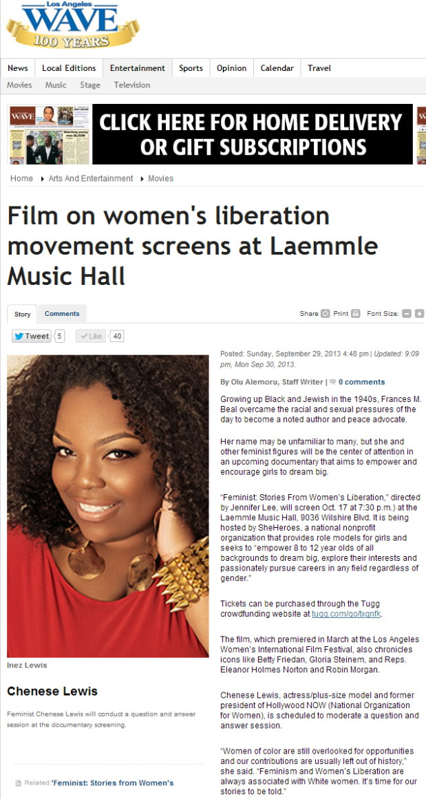 Film on women's liberation movement screens at Laemmle Music Hall - Los Angeles Wave  Movies