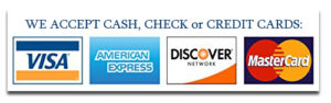 We accept cash, check or credit card payments.