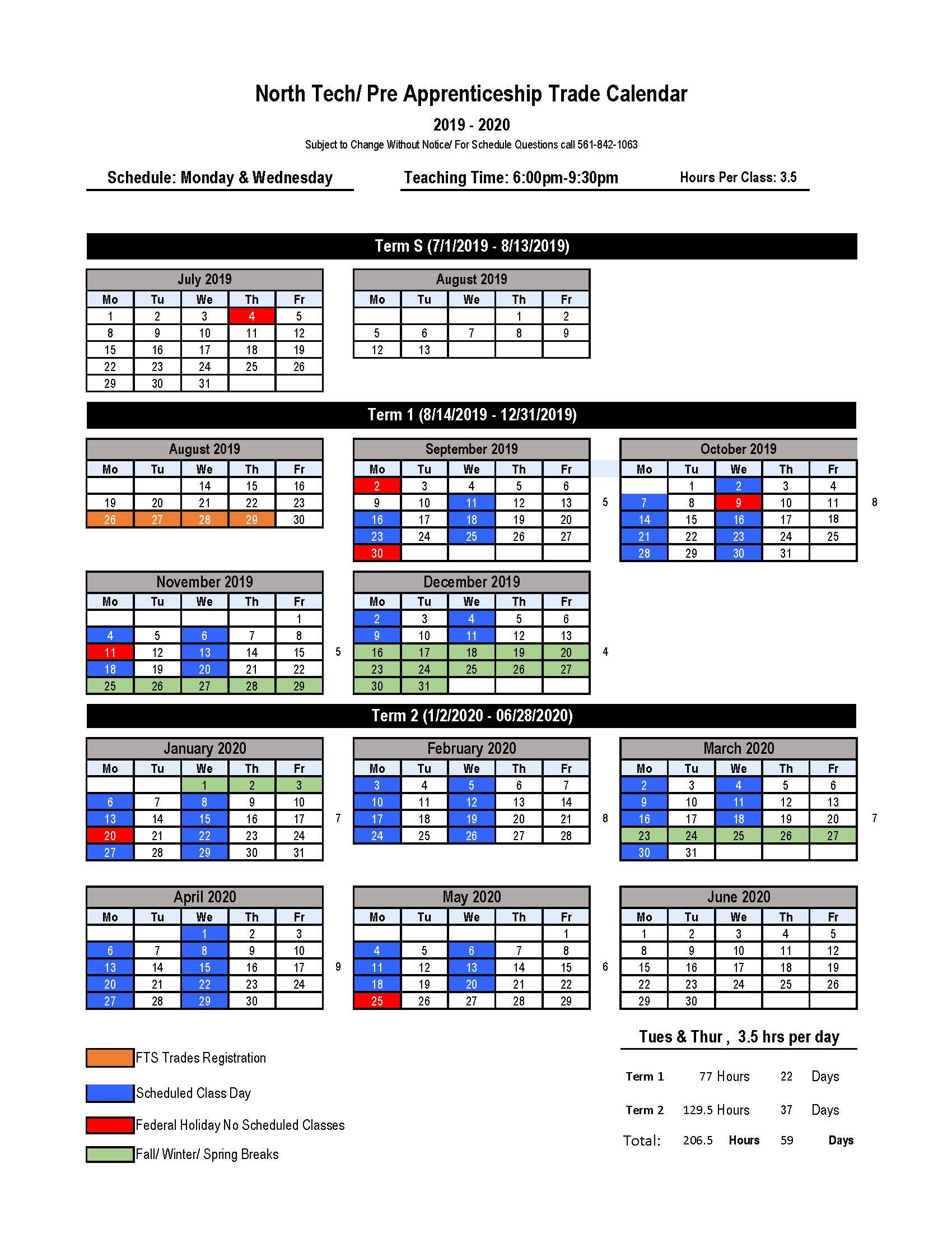 North Tech 2019-2020 Calendar