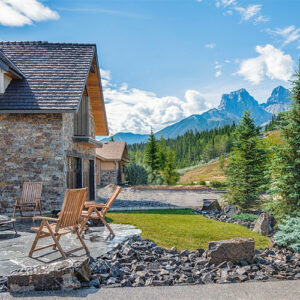 Canmore Landscaping with mountains in the background