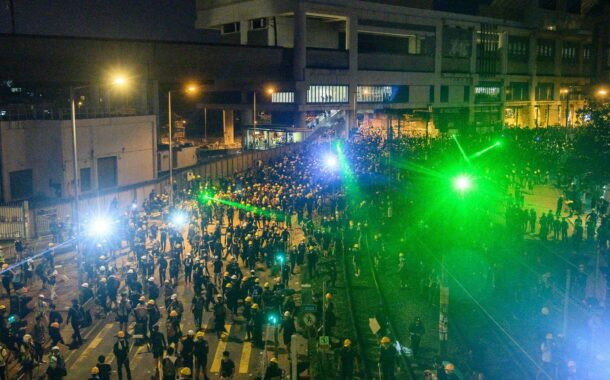 Hong Kong Protesters Laser Police And Spy Cameras